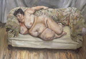 "Lucian Frued's ""Benefits supervisor sleeping"" 1995, oil on canvas"