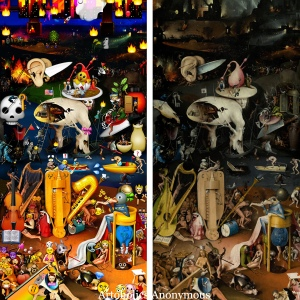 Brooklyn-based artist brings Hieronymus Bosch's quirky masterpiece into the 21st century with emojis.