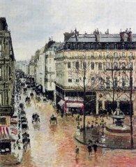 """Camille Pissarro's """"Saint-Honore, après-midi, effet de pluie (Rue Saint-Honore, afternoon, rain effect)"""