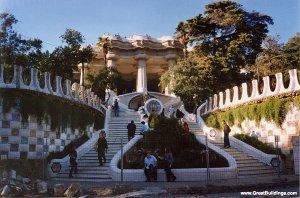 Casa Mila,  Barcelona, Spain, 1905 to 1910 Park Guell,  at Montana Pelada, Barcelona, Spain, 1900 to 1914. Image courtesy  http://www.greatbuildings.com/