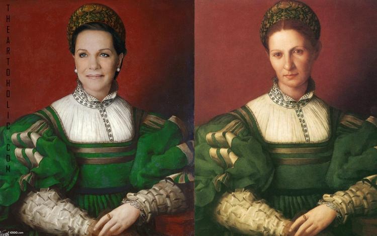 Julie Andrews / Agnolo Bronzino, Portrait of Lady in Green