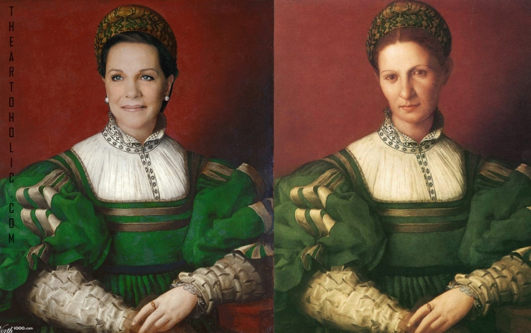 Julie Andrews / Agnolo Bronzino, Portrait of Lady in Green